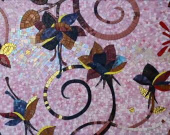 Flower Art Glass Mosaic Tiles