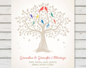 GRANDPARENTS GIFT, Family Tree Gift for Grandparents, Family Tree with Names, Family Tree Print, Family Tree with Grandkids names