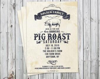 Pig Roast Invitation - Vintage - Digital File - Party Invitation
