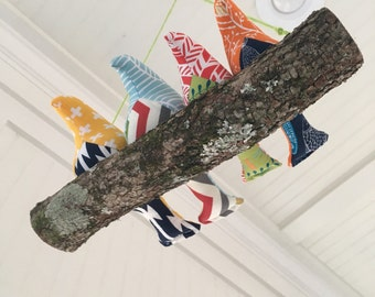 4 Magnetic Birds on a Branch Swing - 4 fabric birds on a real branch - porch, sunroom, woodland nursery