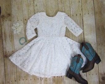 Girls White Lace Dress, White Dress, White Twirl Dress, Girls Lace Dress, Girl Dresses, Dress Sizes 2/3, 4/5, 6/6X, 7/8, 10/12 Ready to Ship