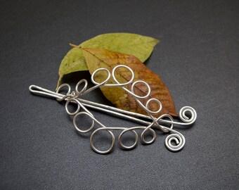 Celtic design  Hair barrette slide, silver plated hair barrette,Hair bun slide