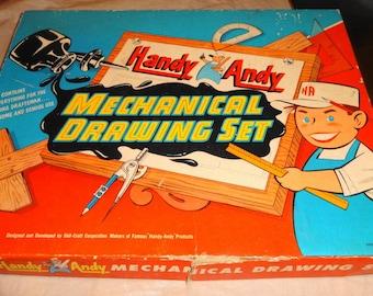 1954 Handy Andy Mechanical Drawing Set. Draftsman's Set