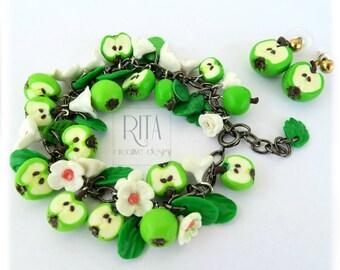 Apple set jewelry earrings and bracelet. Mini fruit in polymer clay.
