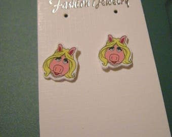 Miss Piggy Muppet inspired Pierced Earrings, handmade jewelry, 11mm