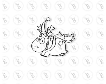"Digi stamp ""flying unicorn with scarf"" v2"
