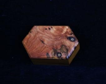 Hand made Hexagonal shaped small timber ring box
