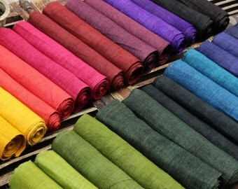 Hmong New Hand Woven Hemp Natural Dyes Fabric Soft Cool Hill Tribe Organic Handmade Extra wide rolls