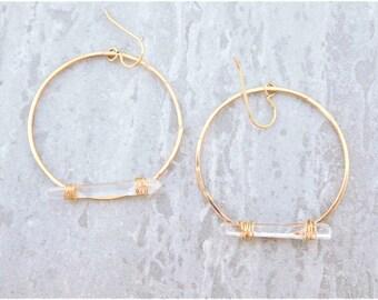 Quartz Crystal Hoops, Raw Crystal Earrings, Crystal Hoop Earrings, Raw Quartz Earrings, Gold Crystal Earrings, Gold Quartz Crystal Earrings