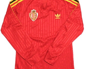 80's vintage adidas belgium national team football shirts made in Belgium