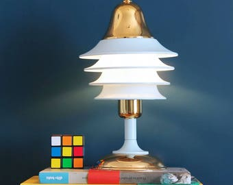 HISPANOLUZ - Table lamp, metal with 24 carat gold plating and blue lacquer. Vintage 80s.