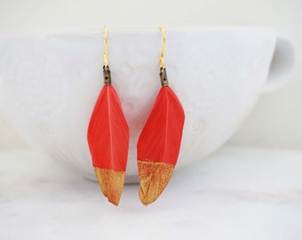 SALE // Orange Pink Feather Gold Dipped Earrings