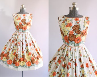 Vintage 1950s Dress / 50s Cotton Dress / Orange Yellow and Brown Floral Border Print Dress S