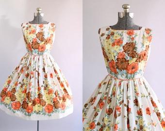 Vintage 1950s Dress / 50s Cotton Dress / Orange Yellow and Brown Floral Border Print Dress S