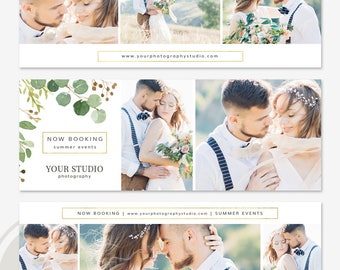 Wedding Facebook Timeline Cover Template Set - Floral Facebook Timeline Cover, Facebook Marketing, Photoshop Template for Photographers