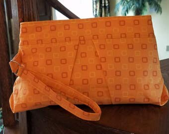 Pleated Wristlet handbag/hidden zipper close- fully lined- 12x7x2 with 9 in opening-zipper clutch with strap/wristlet pouch