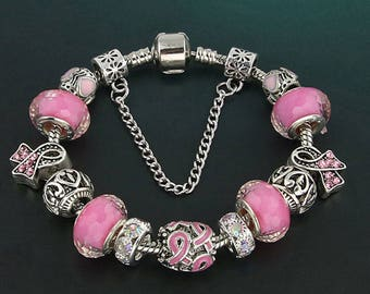Charming Silver-Plated Pandora-style Charm Bracelet with Pink Ribbon and Pink Glass Beads for Breast Cancer Awareness