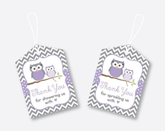 Instant Download, Owl Favor Tags, Purple Owl Baby Shower Favor Tags, Owl Thank You Tags, Owl Gift Tags, Owl Printable, Boy, Girl (SBS.46)