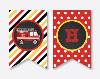Instant Download, Fire Truck Party Banner, Firetruck Happy Birthday Banner, Firetruck Banner, Firetruck Party Printable, Chalkboard(CKB.521)