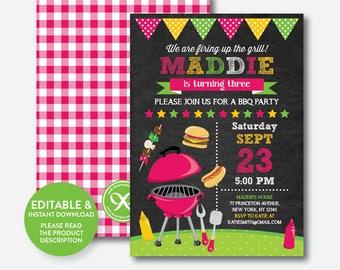 Instant Download, Editable BBQ Birthday Invitation, Barbeque Invitation, bbq invitation, bbq Party Invitation, Picnic, Chalkboard (CKB.401)