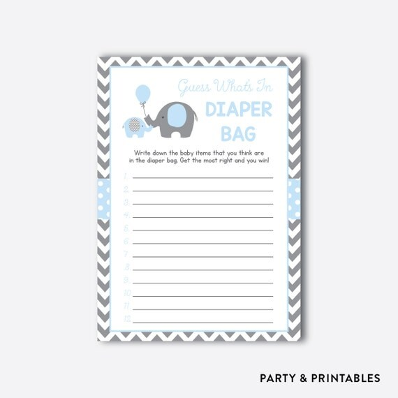 Instant Download, Elephant Whatu0027s In The Diaper Bag Game, Elephant Baby  Shower Games, Blue Elephant Gray Chevron, Little Peanut, Boy(SBS.35)