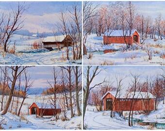 Covered Bridges Art Prints Wall Art Winter Landscape Farmhouse Decor Rustic Home Decor Country Vintage Cabin Decor Harold Hancock