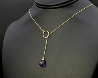 Amethyst Adjustable Necklace, Amethyst Jewelry, Open Necklace, Dainty Necklace, Minimalist Necklace, Minimalist Jewelry, Birthstone Necklace