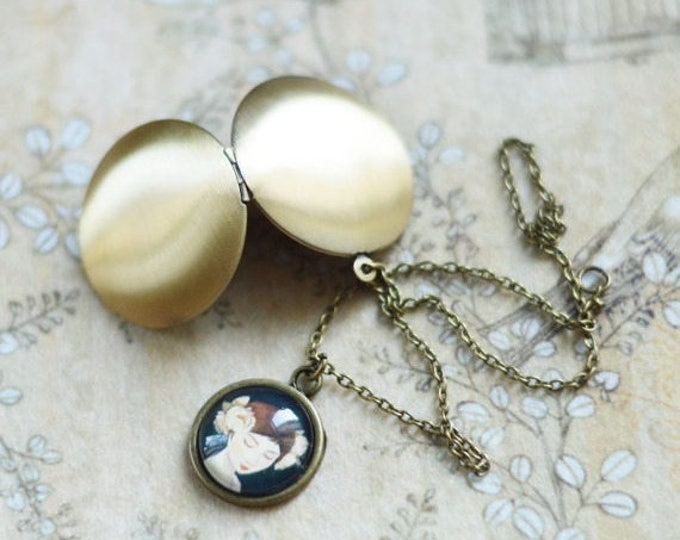 Images Of Women // Pendant-locket metal brass with picture girls under glass // Retro, Vintage, Shabby Chic // Romantic Collection