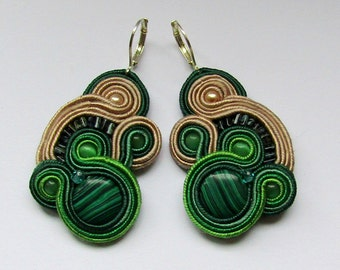 Soutache Earrings Beige - Green