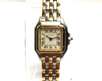 CARTIER PANTHERE 2 Tone 18K Yellow Gold & Stainless Steel Ladies Watch In Box