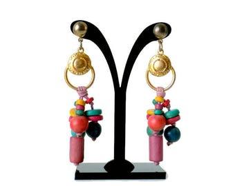 Long Colorful Wooden Beaded Dangle Earrings Made In The Philippines 1980s - Long Dangle Earrings, Wood Bead Earrings, Multi Color Earrings