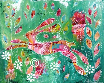 Bounding Hare #177 Original Painting