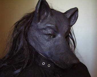 Masquerade mask Wolf mask Black wolf mask Black dog mask Animal mask Scary mask Black dog mask