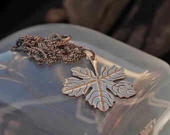 Vintage Silver Leaf Necklace Pendant
