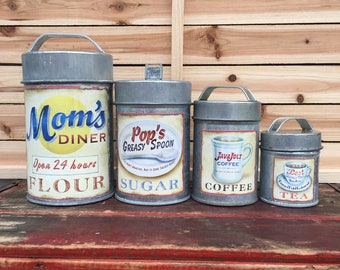 SMALL Flour Sugar Coffee Tea Vintage Style Metal Canister Set ~ Primitive Tins ~ Coffee ~ Craft Supplies ~ Floral Container ~ Retro Diner