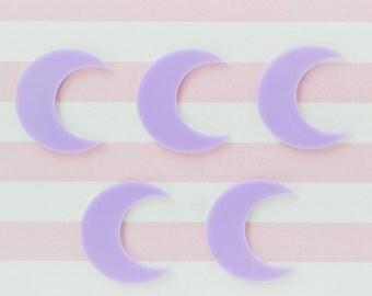 25mm Pastel Purple Crescent Moon Flatback Cabochon - set of 5