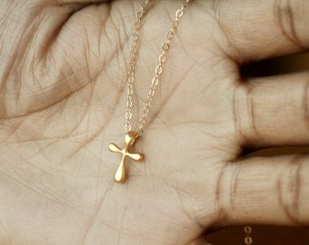 Gold Cross Necklace, Cross Necklace, Gold Necklace, Cross Charm, Baptism Necklace, Everyday Jewelry, Tiny Gold Cross, Dainty Jewelry