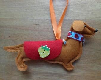 Handmade brown felt Dachshund, Sausage dog hanging decoration