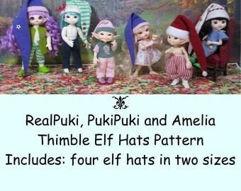 PDF Pattern Elf Hats for RealPuki, PukiPuki and Amelia Thimble