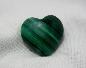 Malachite Heart, Puffed Heart, Malachite Cabochon, Malachite Gemstone, Malachite Jewelry, Wire Wrap, Protection,  21 x 21 x 9 mm  #37