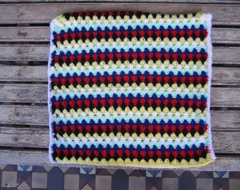 Vintage Hand Crochet Cushion Cover - Double Sided - Granny Square - Red, Yellow, Blue