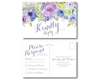 Floral RSVP Postcard, Rsvp Card, Floral Wedding, Flowers, Watercolor Floral, Floral RSVP, RSVP Postcard, Wedding Postcard #CL330