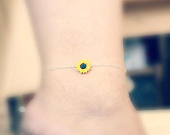Sunflower Anklet ,Bracelet Sunflower, Ankle Bracelet, Sterling Silver, Yellow Bridesmaid Jewelry, Sunflower Jewelry, Summer Jewelry Anklet