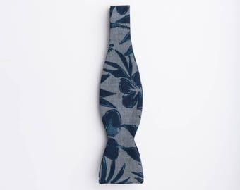 Maui Floral Bow Tie | Floral Bow Tie | Blue Chambray Floral Bow Tie | Fun floral bow tie | Hawaiian Bow tie | Chambray Bow Tie