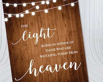 Wedding Reception Wood In Memory Sign {Digital File} - Light for those in Heaven sign Vertical