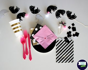 """Party Pack : """"Cute Kitty"""" One-of-a-Kind Party Decorations In a Box!"""