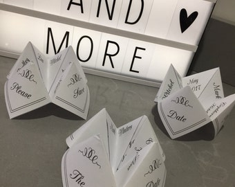 Cootie Catcher Save the dates! Old school vintage save the date, fortune tellers