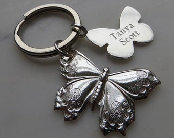 Sterling Silver Butterfly Key Ring
