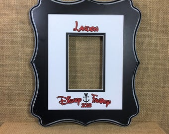 """DISNEY Cruise Inspired AUTOGRAPH book alternative Mat Signature Matte fits 8""""x 10"""" frame for 4""""x 6"""" photo Personalized  Memory Keepsake"""