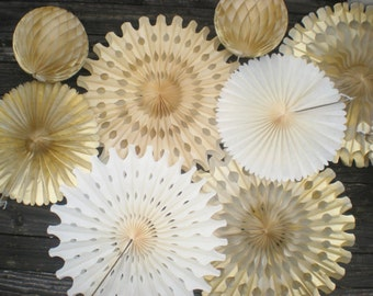 Cream gold champagne blush tissue fans backdrop paper fans for photo backdrop, hanging decorations, table backdrop set of 8